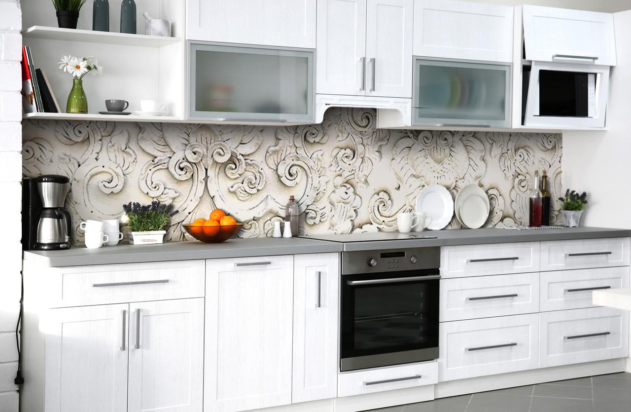 Скинали на кухню Zatarga «Античная лепка» 650х2500 мм виниловая 3Д наклейка кухонный фартук самоклеящаяся