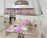 Наклейка 3Д виниловая на стол Zatarga «Стеклянные капли» 650х1200 мм для домов, квартир, столов, кофейн, кафе