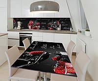 Наклейка 3Д виниловая на стол Zatarga «Клубничное искушение» 600х1200 мм для домов, квартир, столов, кофейн,, фото 1