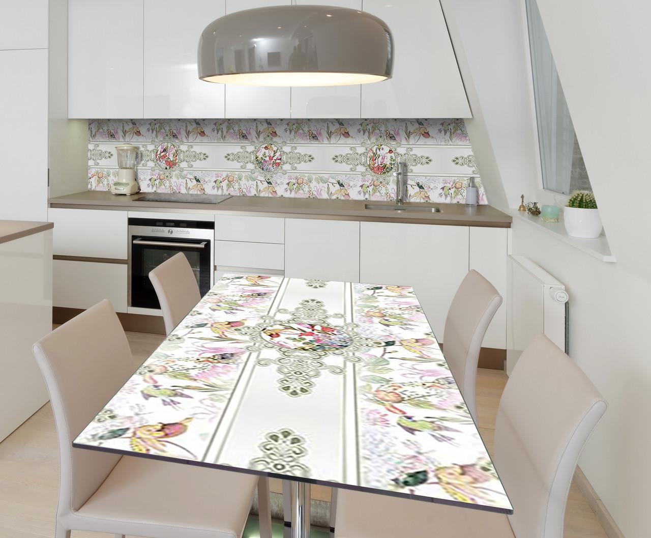 Наклейка 3Д виниловая на стол Zatarga «Пчичьи виньетки» 600х1200 мм для домов, квартир, столов, кофейн, кафе
