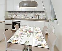 Наклейка 3Д виниловая на стол Zatarga «Пчичьи виньетки» 600х1200 мм для домов, квартир, столов, кофейн, кафе, фото 1