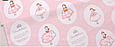 Сатин (хлопковая ткань) куколки с диадемами (белая бледная полоса 75 см от кромки), фото 3