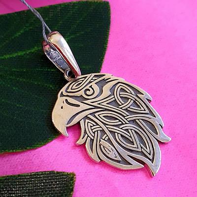 Срібний кулон Орел - Чоловічий кулон з срібла Голова Орла