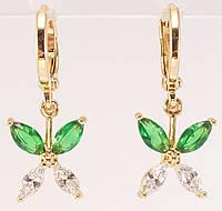 """Серьги M&L подвески на колечках """"Бабочки из бело-зеленых кристаллов"""", фото 1"""