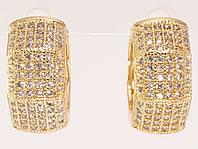 """Серьги M&L желтый оттенок колечки """"Инкрустация цирконием"""", фото 1"""