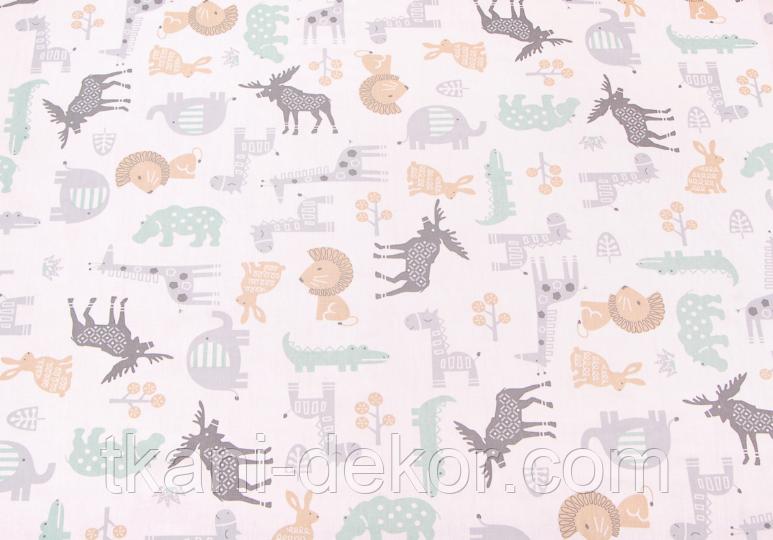 Сатин (хлопковая ткань) серые олени,цветные звери (смещен рисунок, размазана краска)