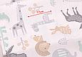 Сатин (хлопковая ткань) серые олени,цветные звери (смещен рисунок, размазана краска), фото 2