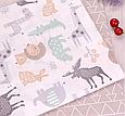 Сатин (хлопковая ткань) серые олени,цветные звери (смещен рисунок, размазана краска), фото 3