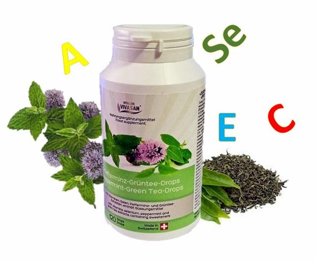Таблетки Зеленого чая с мятой и витаминами