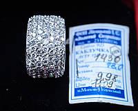 Широкое Обручальное серебряное кольцо с цирконом 18 размер родированое