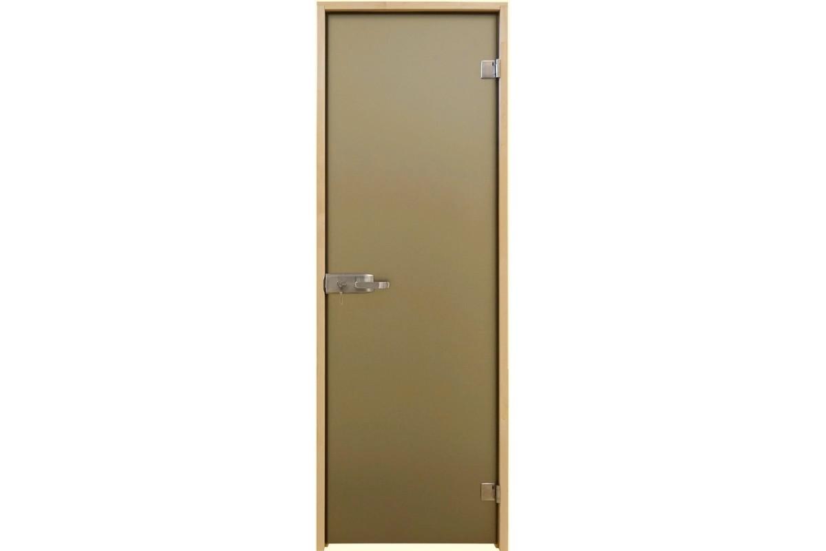 Универсальная стеклянная дверь липа Tesli Aqua Bronze Sateen 2015х680 мм бронзовая межкомнатная
