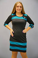 Платья больших размеров. Платье Шанель -черный+бирюза, фото 1