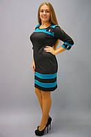 Платья больших размеров. Платье Шанель -черный+бирюза