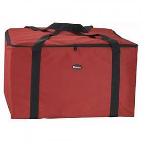 Winco BGDV-22 Квадратная красная термосумка для пиццы c верхней загрузкой, для 5 больших пицц, 550x550x280 мм