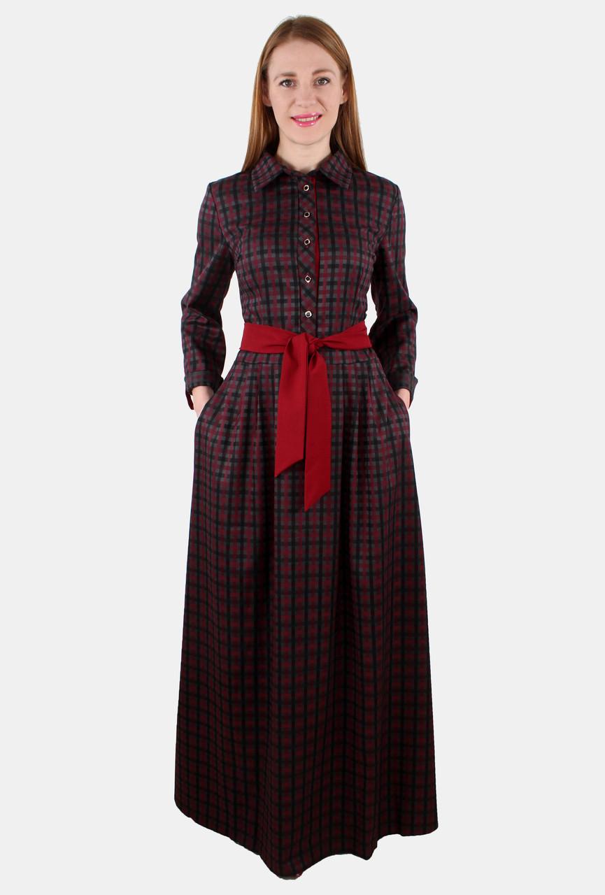 Платье длинное клетка с поясом 44-50 р