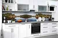 Скинали на кухню Zatarga «Речная гладь» 650х2500 мм виниловая 3Д наклейка кухонный фартук самоклеящаяся