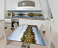 Наклейка 3Д виниловая на стол Zatarga «Речная гладь» 600х1200 мм для домов, квартир, столов, кофейн, кафе