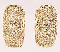 """Сережки M&L жовтий відтінок колечка """"Інкрустація цирконієм"""", фото 1"""