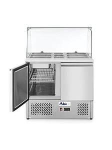 Стол холодильный саладетта 2-дверный со стеклянной витриной Hendi 232781