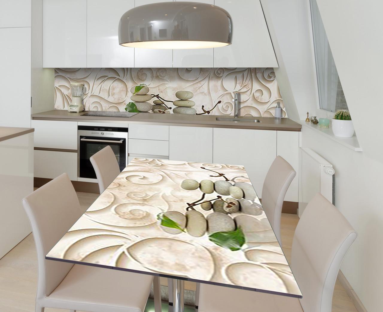 Наліпка 3Д виниловая на стол Zatarga «Изящная лепнина» 650х1200 мм для домов, квартир, столов, кофейн, кафе