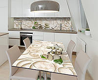 Наліпка 3Д виниловая на стол Zatarga «Изящная лепнина» 650х1200 мм для домов, квартир, столов, кофейн, кафе, фото 1