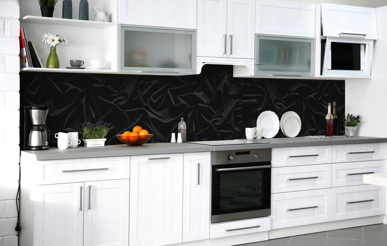Скинали на кухню Zatarga «Чорний оксамит» 600х2500 мм вінілова 3Д Наліпка кухонний фартух самоклеюча