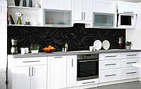 Скинали на кухню Zatarga «Чорний оксамит» 600х2500 мм вінілова 3Д Наліпка кухонний фартух самоклеюча, фото 1
