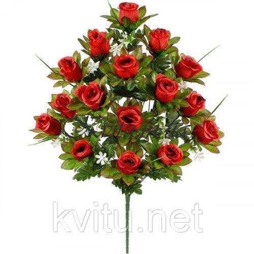 Искусственные цветы букет бутоны роз высокие в зеленой листве, 74см