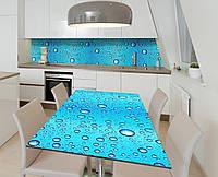 Наклейка 3Д виниловая на стол Zatarga «Капли океана» 600х1200 мм для домов, квартир, столов, кофейн, кафе
