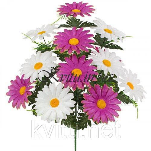 Искусственные цветы букет герберы двухцветный, 52см