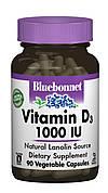 Витамин D3 1000IU, Bluebonnet Nutrition, 90 вегетарианских капсул