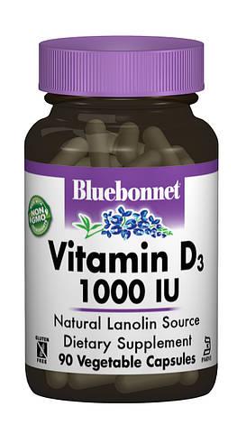 Витамин D3 1000IU, Bluebonnet Nutrition, 90 вегетарианских капсул, фото 2