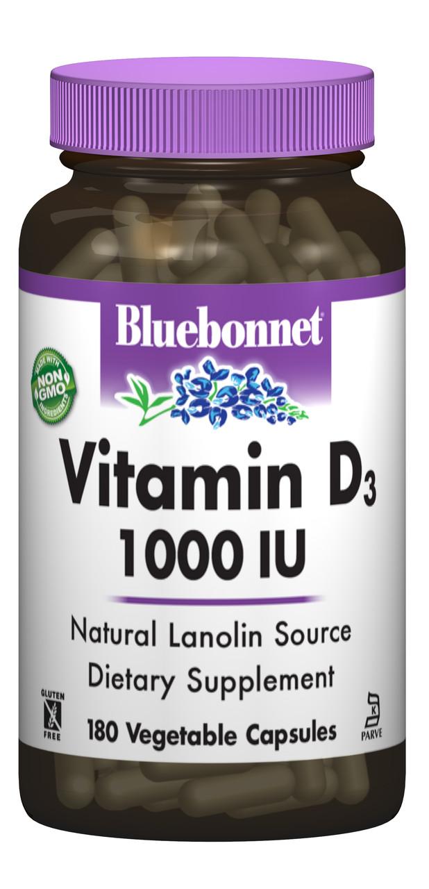 Витамин D3 1000IU, Bluebonnet Nutrition, 180 вегетарианских капсул