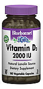 Витамин D3 2000IU, Bluebonnet Nutrition, 180 вегетарианских капсул