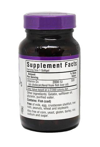 Витамин D3 2000IU, Bluebonnet Nutrition, 100 желатиновых капсул, фото 2