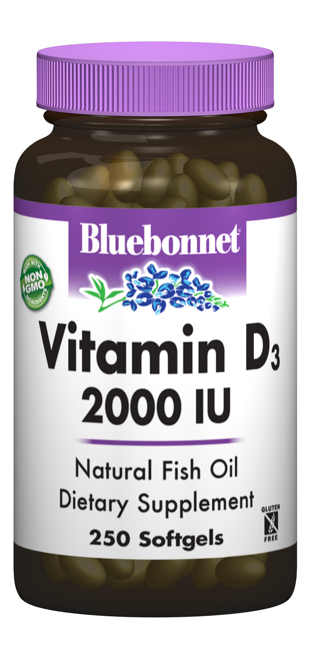 Витамин D3 2000IU, Bluebonnet Nutrition, 250 желатиновых капсул