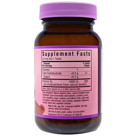 Витамин D3 1000IU, Вкус Малины, Earth Sweet Chewables, Bluebonnet Nutrition, 90 жевательных таблеток, фото 2