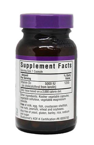 Витамин D3 5000IU, Bluebonnet Nutrition, 60 вегетарианских капсул, фото 2