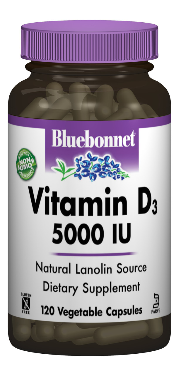 Витамин D3 5000IU, Bluebonnet Nutrition, 120 вегетарианских капсул