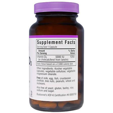 Витамин D3 5000IU, Bluebonnet Nutrition, 120 вегетарианских капсул, фото 2