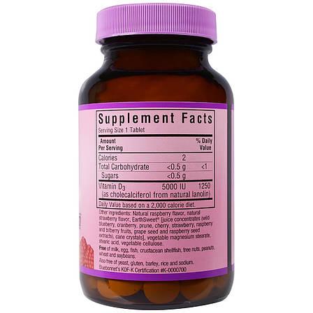 Витамин D3 5000IU, Вкус Малины, Earth Sweet Chewables, Bluebonnet Nutrition, 90 жев. таб., фото 2