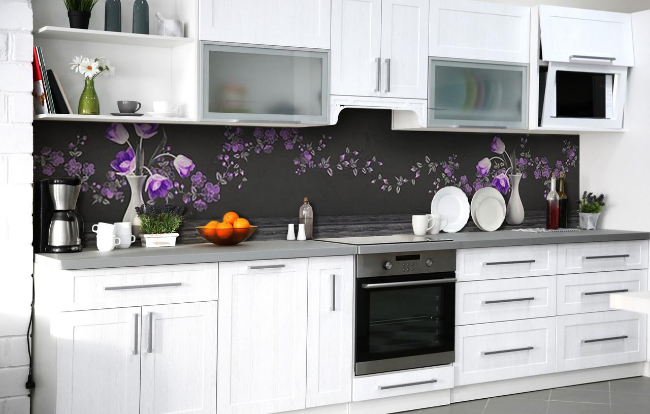 Скинали на кухню Zatarga «Букет вельветовых тюльпанов» 600х2500 мм виниловая 3Д наклейка кухонный фартук