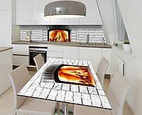 Наклейка 3Д виниловая на стол Zatarga «Белый камин» 650х1200 мм для домов, квартир, столов, кофейн, кафе
