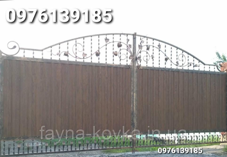 Ворота ковані закриті профнастилом 6229