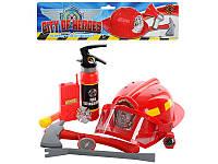 Набор пожарника каска, огнетушитель, топор, лом, компас Metr+  5022 A