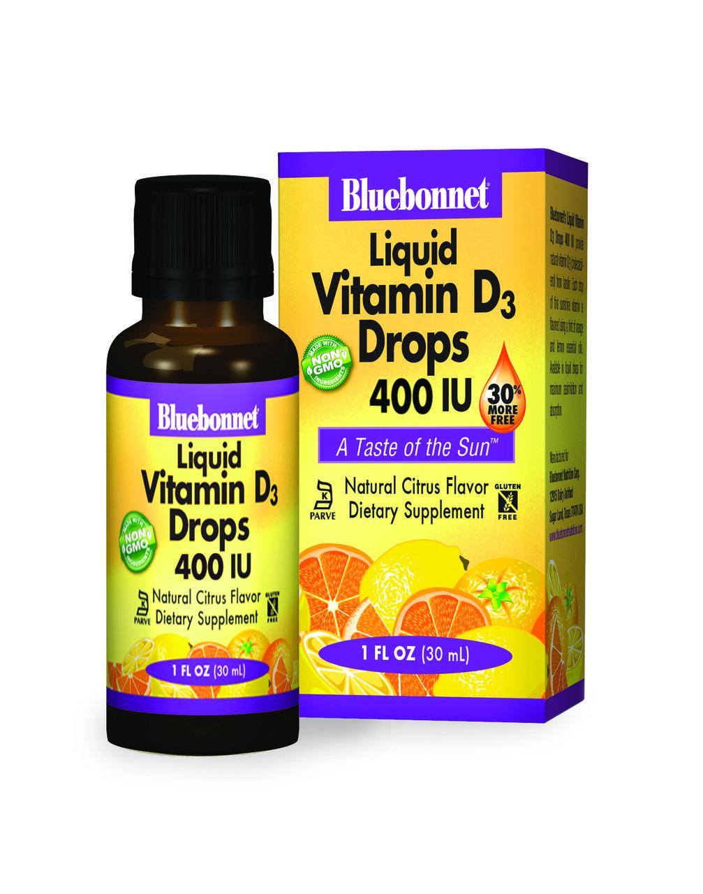 Жидкий Витамин D3 400IU, Вкус Апельсина, Bluebonnet Nutrition, 30мл капли