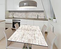 Наклейка 3Д виниловая на стол Zatarga «Серо-белый кирпич» 600х1200 мм для домов, квартир, столов, кофейн, кафе