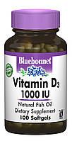 Вітамін D3 1000IU, Bluebonnet Nutrition, 100 желатинових капсул