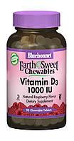 Вітамін D3 1000IU, Смак Малини, Earth Sweet Chewables, Bluebonnet Nutrition, 90 жувальних таблеток