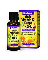 Рідкий Вітамін D3 400IU, Смак Апельсина, Bluebonnet Nutrition, 30мл краплі